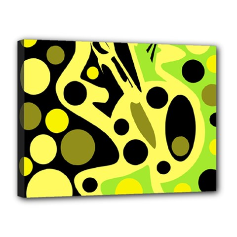 Green abstract art Canvas 16  x 12
