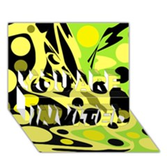 Green abstract art YOU ARE INVITED 3D Greeting Card (7x5)