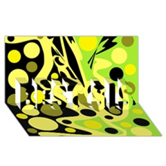 Green abstract art BEST SIS 3D Greeting Card (8x4)