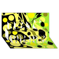 Green abstract art Best Wish 3D Greeting Card (8x4)