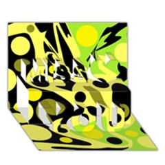 Green Abstract Art Miss You 3d Greeting Card (7x5)