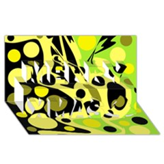 Green abstract art Merry Xmas 3D Greeting Card (8x4)