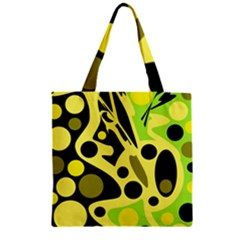 Green abstract art Zipper Grocery Tote Bag