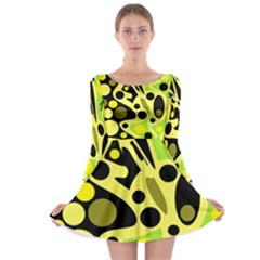 Green abstract art Long Sleeve Skater Dress