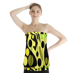 Green abstract art Strapless Top