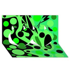 Green abstract decor Twin Hearts 3D Greeting Card (8x4)