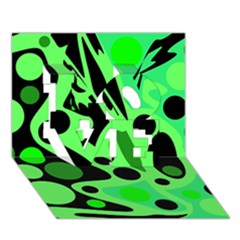 Green abstract decor LOVE 3D Greeting Card (7x5)