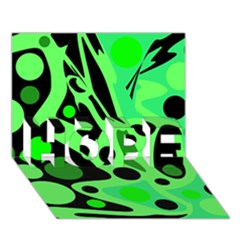 Green abstract decor HOPE 3D Greeting Card (7x5)