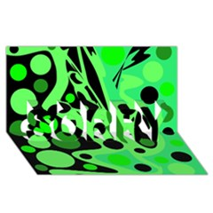 Green abstract decor SORRY 3D Greeting Card (8x4)