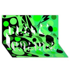 Green abstract decor Best Wish 3D Greeting Card (8x4)