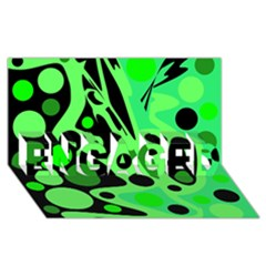 Green abstract decor ENGAGED 3D Greeting Card (8x4)
