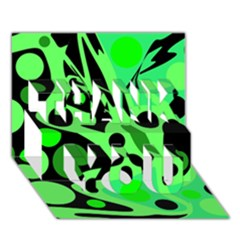 Green abstract decor THANK YOU 3D Greeting Card (7x5)