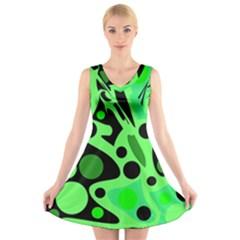 Green abstract decor V-Neck Sleeveless Skater Dress