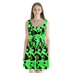 Green abstract decor Split Back Mini Dress
