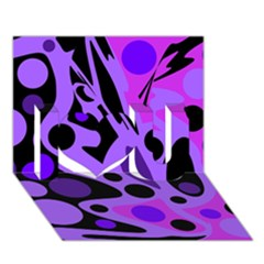 Purple abstract decor I Love You 3D Greeting Card (7x5)