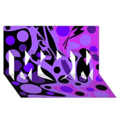 Purple abstract decor MOM 3D Greeting Card (8x4)