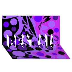 Purple abstract decor BEST SIS 3D Greeting Card (8x4)