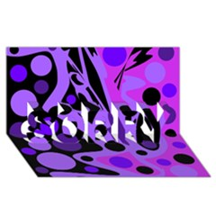 Purple abstract decor SORRY 3D Greeting Card (8x4)