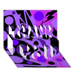 Purple abstract decor THANK YOU 3D Greeting Card (7x5)