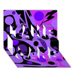 Purple abstract decor TAKE CARE 3D Greeting Card (7x5)