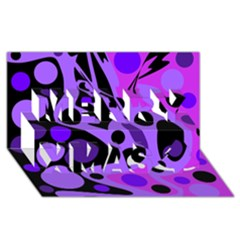Purple Abstract Decor Merry Xmas 3d Greeting Card (8x4)