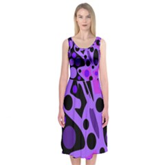 Purple abstract decor Midi Sleeveless Dress