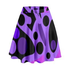 Purple abstract decor High Waist Skirt