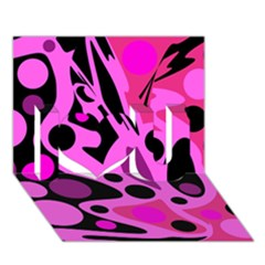 Pink abstract decor I Love You 3D Greeting Card (7x5)