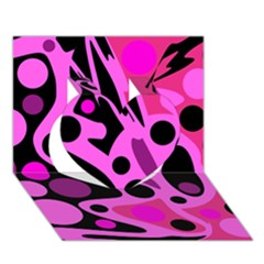 Pink Abstract Decor Heart 3d Greeting Card (7x5)