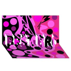 Pink abstract decor BEST BRO 3D Greeting Card (8x4)