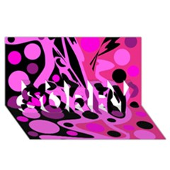 Pink abstract decor SORRY 3D Greeting Card (8x4)