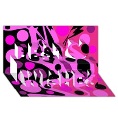 Pink abstract decor Best Wish 3D Greeting Card (8x4)