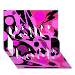 Pink abstract decor You Rock 3D Greeting Card (7x5)