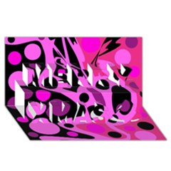 Pink abstract decor Merry Xmas 3D Greeting Card (8x4)