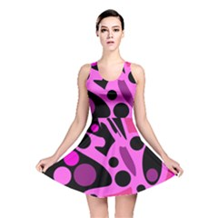 Pink abstract decor Reversible Skater Dress