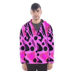 Pink abstract decor Hooded Wind Breaker (Men)