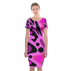 Pink abstract decor Classic Short Sleeve Midi Dress
