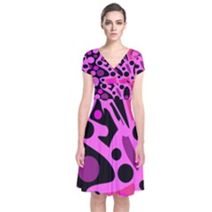 Pink abstract decor Short Sleeve Front Wrap Dress