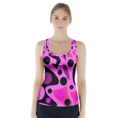Pink Abstract Decor Racer Back Sports Top