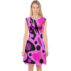 Pink abstract decor Capsleeve Midi Dress