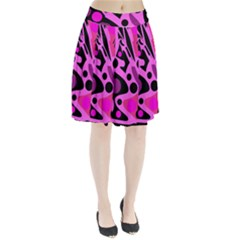 Pink abstract decor Pleated Skirt
