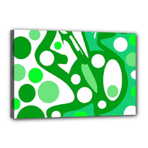 White and green decor Canvas 18  x 12