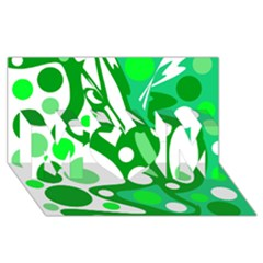 White and green decor MOM 3D Greeting Card (8x4)