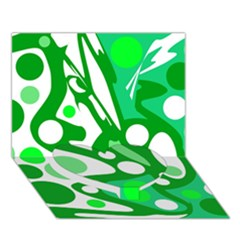 White and green decor Heart Bottom 3D Greeting Card (7x5)