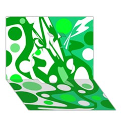 White and green decor Apple 3D Greeting Card (7x5)