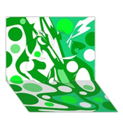 White and green decor Clover 3D Greeting Card (7x5)