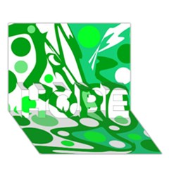 White and green decor HOPE 3D Greeting Card (7x5)