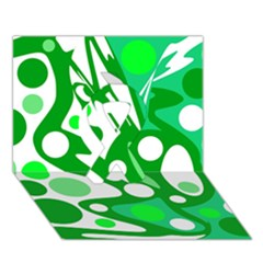 White and green decor Ribbon 3D Greeting Card (7x5)
