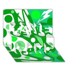 White and green decor TAKE CARE 3D Greeting Card (7x5)