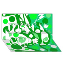 White and green decor Merry Xmas 3D Greeting Card (8x4)
